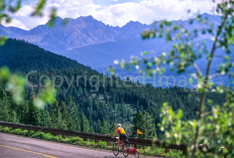 Cyclist at Ute Pass on Great Divide Trail near Silverthorne, Colorado - 1 - 72 ppi