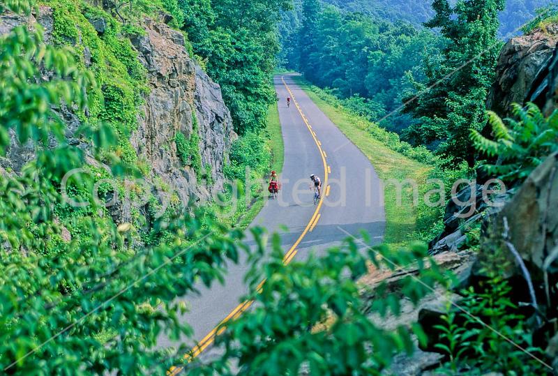 Three cyclists near Humpback Gap Overlook on Blue Ridge Parkway in Virginia - 29 - 72 dpi