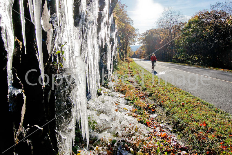 Cyclist passing icy rock wall on Blue Ridge Parkway in Virginia, near Humpback Mountain- - 72 dpi