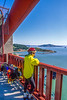 Touring cyclist on Golden Gate Bridge, California - 6-Edit - 72 ppi
