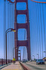 Touring cyclist on Golden Gate Bridge, California - 2-Edit - 72 ppi