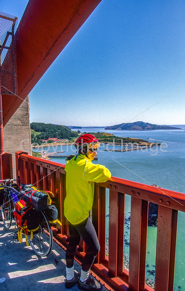 Touring cyclist on Golden Gate Bridge, California - 5-Edit - 72 ppi