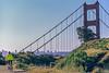 Mountain biker above Slide Ranch in Golden Gate National Recreation Area in California - bridge in view - 3-Edit - 72 ppi