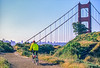 Mountain biker above Slide Ranch in Golden Gate National Recreation Area in California - bridge in view - 6-Edit - 72 ppi