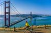 Mountain biker above Slide Ranch in Golden Gate National Recreation Area in California - bridge in view - 15-Edit - 72 ppi