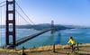 Mountain biker above Slide Ranch in Golden Gate National Recreation Area in California - bridge in view - 5-Edit - 72 ppi