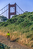 Mountain biker above Slide Ranch in Golden Gate National Recreation Area in California - bridge in view - 14-Edit - 72 ppi