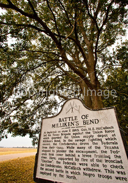Milliken's Bend sign in Louisiana, near Vicksburg, MS - D3-C2-0064 - 72 ppi