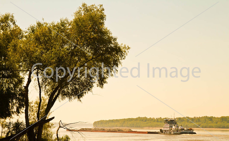 Barge traffic on the Mississippi near Grand Gulf Military Park, MS - D5 - C3-0154 - 72 ppi