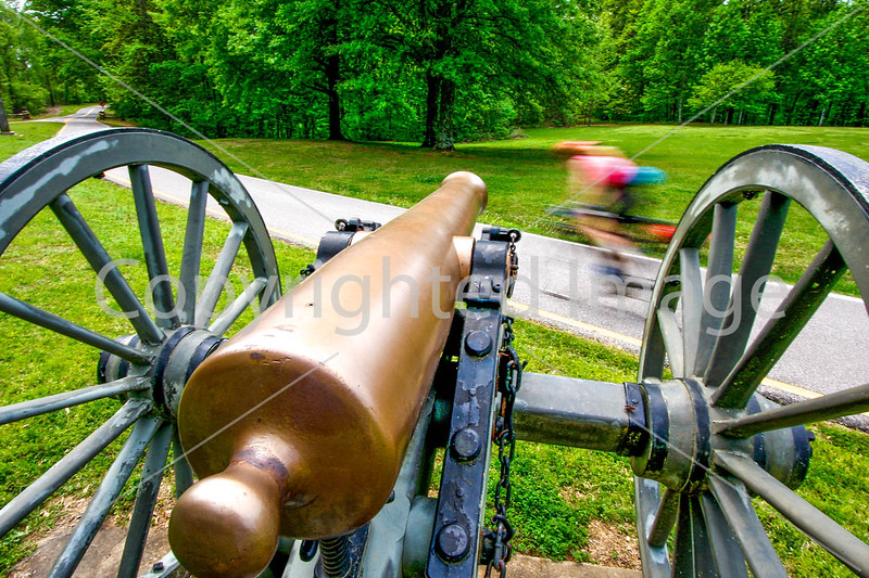 Thin-tire cyclist at Fort Pillow State Historic Area in Tennessee - C1--0071 - 72 ppi