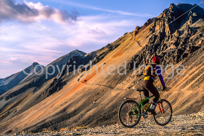 Biker at Engineer Pass on Colorado's Alpine Loop, between Lake City & Ouray - 10 - 72 ppi