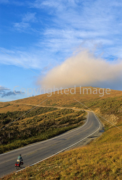 Cyclist on Trail Ridge Road in Colorado's Rocky Mountain National Park - 2 - 72 ppi