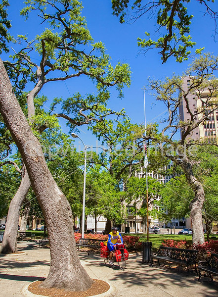 Touring cyclist in Bienville Square in downtown Mobile, Alabama - mobi0042 - 72 ppi