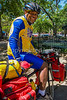 Touring cyclist in Bienville Square in Mobile, Alabama 3 - 72 ppi