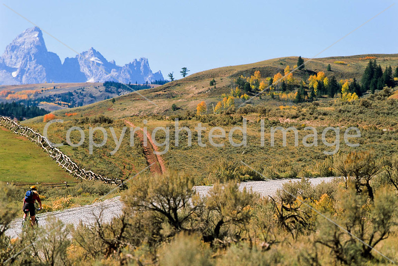 Mountain biker on Gros Ventre Road in Teton Nat'l Forest just east of Grand Teton Nat'l Park - 7 - 72 ppi
