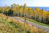 Biker on Minnesota's Gitchi-Gami State Trail on Lake Superior's western shore, near Split Rock Lighthouse - 2 - 72 ppi