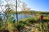 Biker on Minnesota's Gitchi-Gami State Trail on Lake Superior's western shore, near Split Rock Lighthouse - 3-Edit - 72 ppi