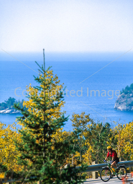 Biker on Canada's Hwy 17 (Trans-Canada Hwy) in Lake Superior Provincial Park north of Sault Ste  Marie - 1-Edit - 72 ppi-2