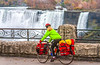 Touring cyclist viewing American side of Niagara Falls, NY-0597 - 72 ppi
