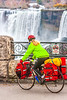 Touring cyclist viewing American side of Niagara Falls, NY-0616 - 72 ppi