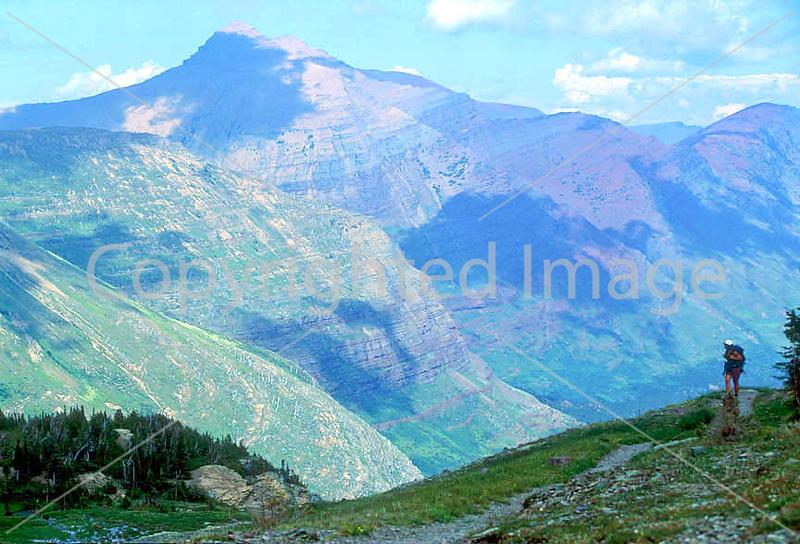 HI mt glacier 1 - ORps - jpeg - Hiker descending on Swiftcurrent Pass Trail in Glacier Nat