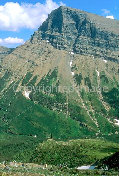 HI mt glacier 6 - ORps - jpeg - Hiker descending on Swiftcurrent Pass Trail in Glacier Nat