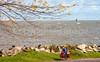Touring cyclist on south shore of Lake Erie, near Ashtabula, Ohio-0279 - 72 ppi