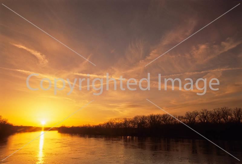 Winter sunset over Wabash River at George Rogers Clark Nat'l Historical Park, Vincennes, IN -  8 - 72 ppi