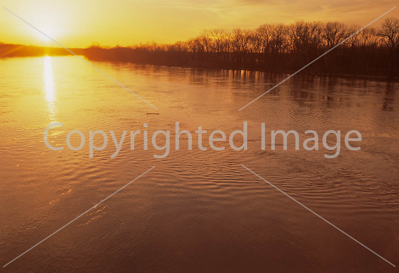 Winter sunset over Wabash River at George Rogers Clark Nat'l Historical Park, Vincennes, IN -  7-Edit - 72 ppi