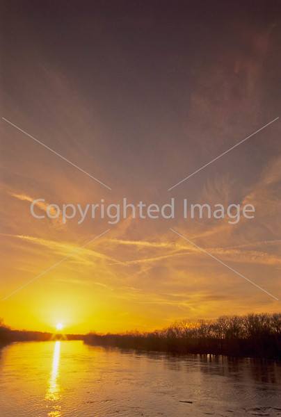 Winter sunset over Wabash River at George Rogers Clark Nat'l Historical Park, Vincennes, IN -  5-Edit - 72 ppi