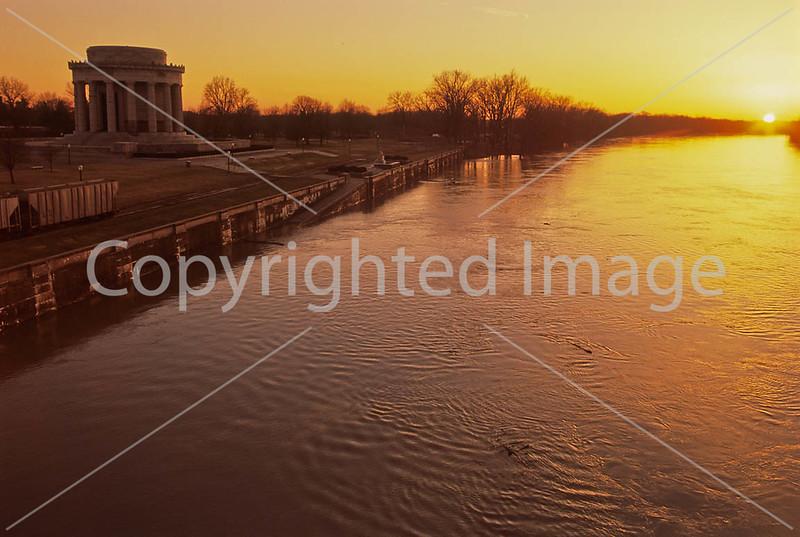 Winter sunset over Wabash River at George Rogers Clark Nat'l Historical Park, Vincennes, IN -  2 - 72 ppi