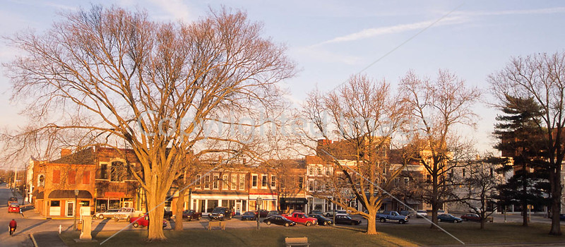 Portion of downtown Vincennes, Indiana, in view from Clark Nat'l Historic Site & Lincoln Bridge  - 6-Edit - 72 ppi