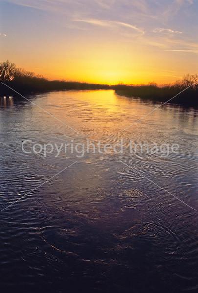 Winter sunset over Wabash River at George Rogers Clark Nat'l Historical Park, Vincennes, IN -  6 - 72 ppi