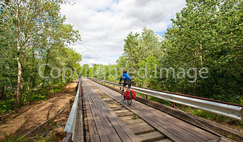 Biker on old Wabash Cannonball Bridge near St  Francisville, IL_MG_0165 - 72 ppi