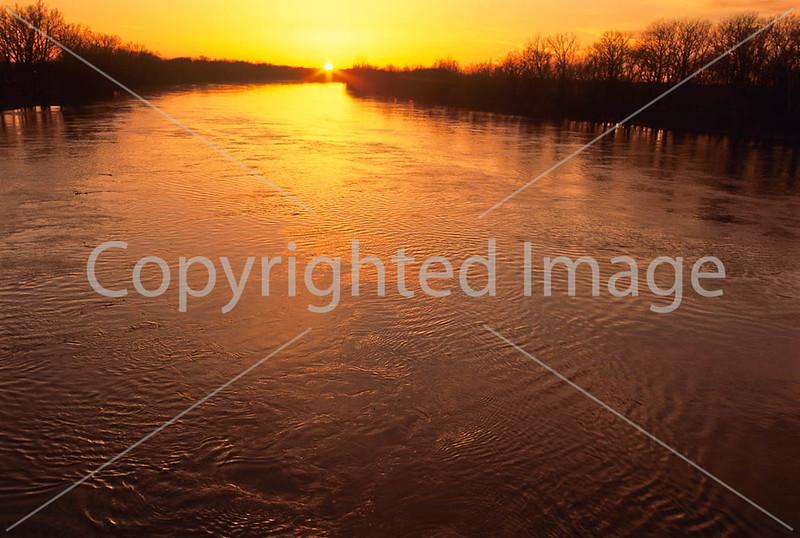 Winter sunset over Wabash River at George Rogers Clark Nat'l Historical Park, Vincennes, IN -  1 - 72 ppi