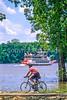 Biker & stern-wheeler on Mississippi River near Grafton, IL - 2 - 72 ppi
