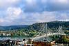 B ky maysville - Maysville, Kentucky; Simon Kenton Suspension Bridge over Ohio River - 72 dpi - 16x10+ - final