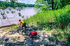 Touring mt  biker just off Katy Trail to MO River near Defiance, MO - 2 - 72 ppi