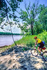 Touring mt  biker just off Katy Trail to MO River near Defiance, MO - 12 - 72 ppi