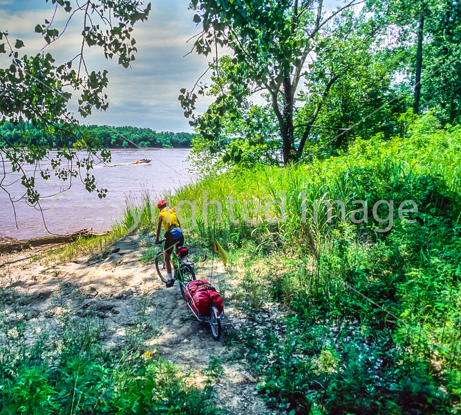 Touring mt  biker just off Katy Trail to MO River near Defiance, MO - 5 - 72 ppi