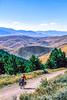 Biker on L&C Trail, on Idaho side of Lemhi Pass in Beaverhead Mts - 4-Edit - 72 ppi