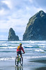 Lewis & Clark - Cyclist at Cannon Beach on Oregon coast - 5 - 72 ppi