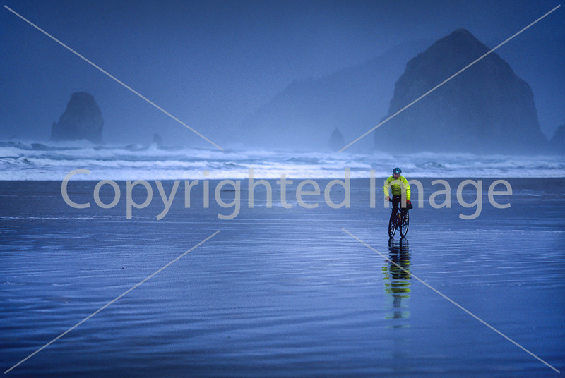 Lewis & Clark - Cyclist at Cannon Beach on Oregon coast - 9 - 72 ppi