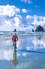 Lewis & Clark - Cyclist at Cannon Beach on Oregon coast - 15 - 72 ppi-2