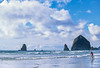 Lewis & Clark - Cyclist at Cannon Beach on Oregon coast - 13 - 72 ppi