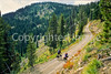 Touring cyclist(s) on Lolo Trail in Idaho's Bitterroot Mts; Forest Road 500 - 23 - 72 ppi