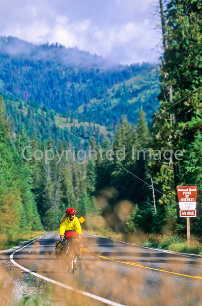Touring cyclist(s) on Lolo Trail in Idaho's Bitterroot Mts; Forest Road 500 - 13 - 72 ppi