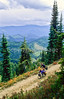 Touring cyclist(s) on Lolo Trail in Idaho's Bitterroot Mts; Forest Road 500 - 17 - 72 ppi