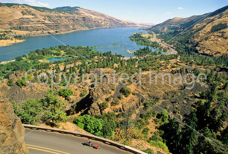 Touring cyclist on Rowena Loops of Columbia Gorge east of Portland, OR - 3 - 72 ppi