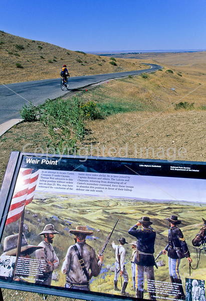 Cyclist at Little Bighorn Battlefield Nat  Monument in Montana - 1 - 72 ppi